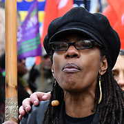 Marcia Reed is Sean Reed sister join the United Families and Friends Campaign (UFFC) 20th Anniversary Procession march to Downing Street demand ask demand justice for their love one killed by polices on 27 October 2018, London, UK.