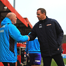 TELFORD COPYRIGHT MIKE SHERIDAN Gavin Cowan greets Alfreton manager Billy Heath during the Vanarama Conference North fixture between AFC Telford United and Alfreton Town at The Impact Arena on Wednesday, January 1, 2020.<br /> <br /> Picture credit: Mike Sheridan/Ultrapress<br /> <br /> MS201920-038