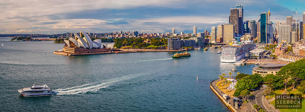 Sydney Harbour panoramic photograph - captured from the Sydney Harbour Bridge