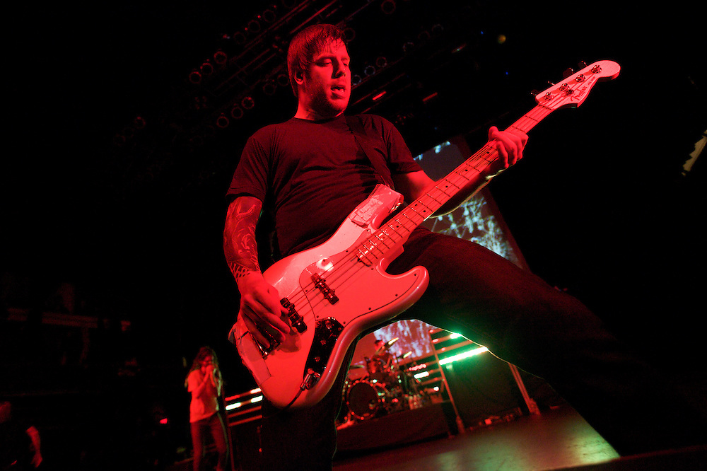Bassist Grant Brandell and Underoath perform at Terminal 5 in Manhattan, Thursday, February 17, 2011.