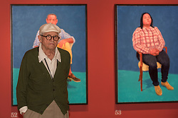"""© Licensed to London News Pictures. 27/06/2016. London, UK. David Hockney unveils his new exhibition, """"82 Portraits and 1 Still-life"""" at the Royal Academy of Arts in Piccadilly.  The paintings, considered as one body of work, have been made of the last two and a half years in the artist's Los Angeles studio and will be on show 2 July to 2 October. Photo credit : Stephen Chung/LNP"""