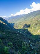 High-angle view of the valley of the Rio Santa Teresa, Peru.