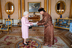 Narkhuu Tulga, Ambassador of Mongolia, presents his credentials to Queen Elizabeth II during a private audience at Buckingham Palace, London.