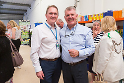 Kent Operations Manager Paul Underdown, right, and Kent Business and Development Manager Ian Townsend-Blazier at the opening of FareShare's relocated warehouse in Ashford, Kent. Ashford, Kent, May 23 2019.