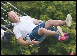 June 11, 2017 - Westonbirt, United Kingdom - Image licensed to i-Images Picture Agency. 11/06/2017. Westonbirt, United Kingdom. Mike Tindall has a go on the fun fair  at the Gloucestershire Festival of Polo at Beaufort Polo Club in Westonbirt, Gloucestershire, United Kingdom. Picture by Stephen Lock / i-Images (Credit Image: © Stephen Lock/i-Images via ZUMA Press)