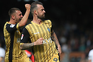 Sheffield Wednesday Forward Steven Fletcher celebrates after he scores his team's first goal. EFL Skybet championship match, Fulham v Sheffield Wednesday at Craven Cottage in London on Saturday 19th August 2017<br /> pic by Steffan Bowen, Andrew Orchard sports photography.
