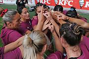 Players warm up before the Black Ferns Sevens match, Sky Stadium, Wellington, Sunday, April 11, 2021. Copyright photo: Kerry Marshall / www.photosport.nz
