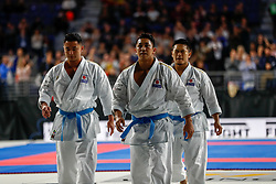 November 11, 2018 - Madrid, Madrid, Spain - Japan Team win golg medal and win the tournament of male Kata Team during the Finals of Karate World Championship celebrates in Wizink Center, Madrid, Spain, on November 11th, 2018. (Credit Image: © AFP7 via ZUMA Wire)
