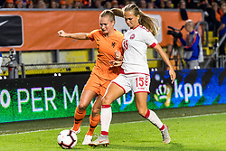 (L-R) Desiree van Lunteren of Netherlands women, Frederikke Thogersen of Denmark women during the FIFA Women's World Cup 2019 play off first leg qualifying match between The Netherlands and Denmark at the Rat Verlegh stadium on October 05, 2018 in Breda, The Netherlands
