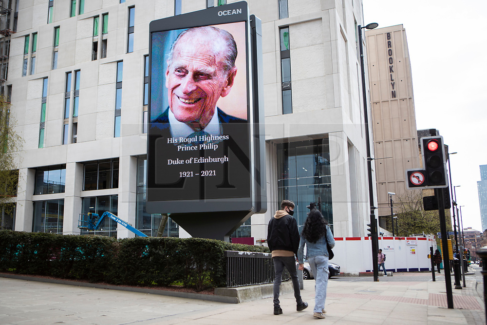 © Licensed to London News Pictures. 17/04/2021. Manchester, UK. An image in memory of HRH Duke of Edinburgh, Prince Phillip in Manchester. Photo credit: Kerry Elsworth/LNP