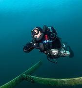 LungFish rebreather diver on the platform at Dutch Springs, Bethlehem, Pennsylvania