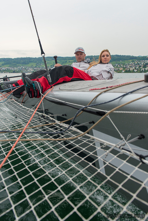 16. May 2013 Jenny Ann Gerber Christened the new GC32 from Marwin Sailing Team with Teamleader Flavio Marazzi, Onboard shooting with Jennifer Ann Gerber