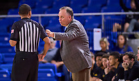 Southern Miss Golden Eagles head coach Jay Ladner talking to a referee during the Southern Mississippi Golden Eagles at Middle Tennessee Blue Raiders college basketball game in Murfreesboro, Tennessee, Saturday, March, 7, 2020.<br /> Photo: Harrison McClary/All Tenn Sports