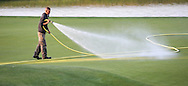 Watering the 18th at 7am during Round One of the 2015 Alstom Open de France, played at Le Golf National, Saint-Quentin-En-Yvelines, Paris, France. /03/07/2015/. Picture: Golffile | David Lloyd<br /> <br /> All photos usage must carry mandatory copyright credit (© Golffile | David Lloyd)