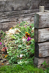 Compost bins made out of railway sleepers