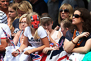 London, UK. Tuesday 7th August 2012. Men's Triathlon held in Hyde Park. Fans of Team GB came in their thousands.