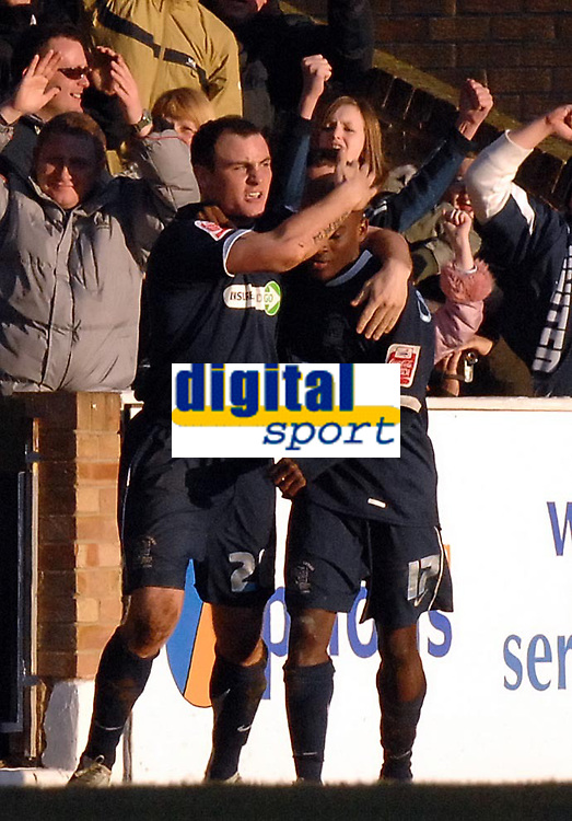 Photo: Ashley Pickering.<br />Southend United v Leicester City. Coca Cola Championship. 03/03/2007.<br />Alan McCormack (L) celebrates his equaliser for Southend with Jamal Campbell-Ryce (2-2)