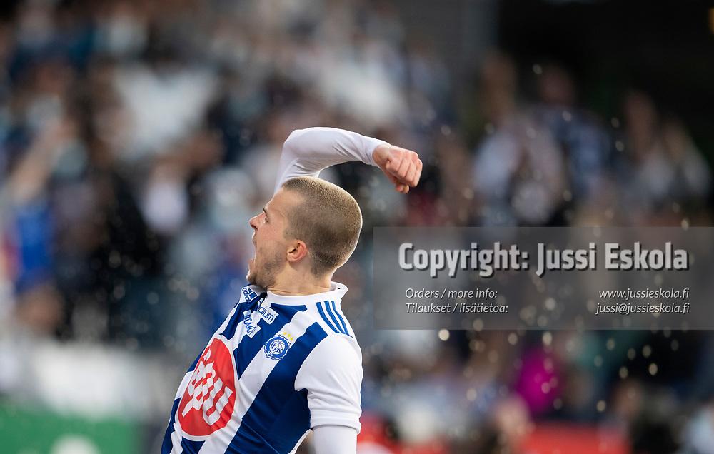 Roope Riski. 3-0. HJK - Neftci. Eurooppa-liigan karsinta. Helsinki 12.8.2021. Photo: Jussi Eskola