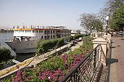 Cruise ship docked  Nile River  Luxor, Egypt