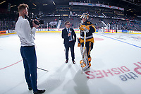 REGINA, SK - MAY 22: Kaden Fulcher #33 of Hamilton Bulldogs is interviewed on the ice after the win against the Acadie-Bathurst Titan at the Brandt Centre on May 22, 2018 in Regina, Canada. (Photo by Marissa Baecker/CHL Images)