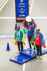 ING New York CIty Marathon: men's podium of winners, Kebede, Mutai, April