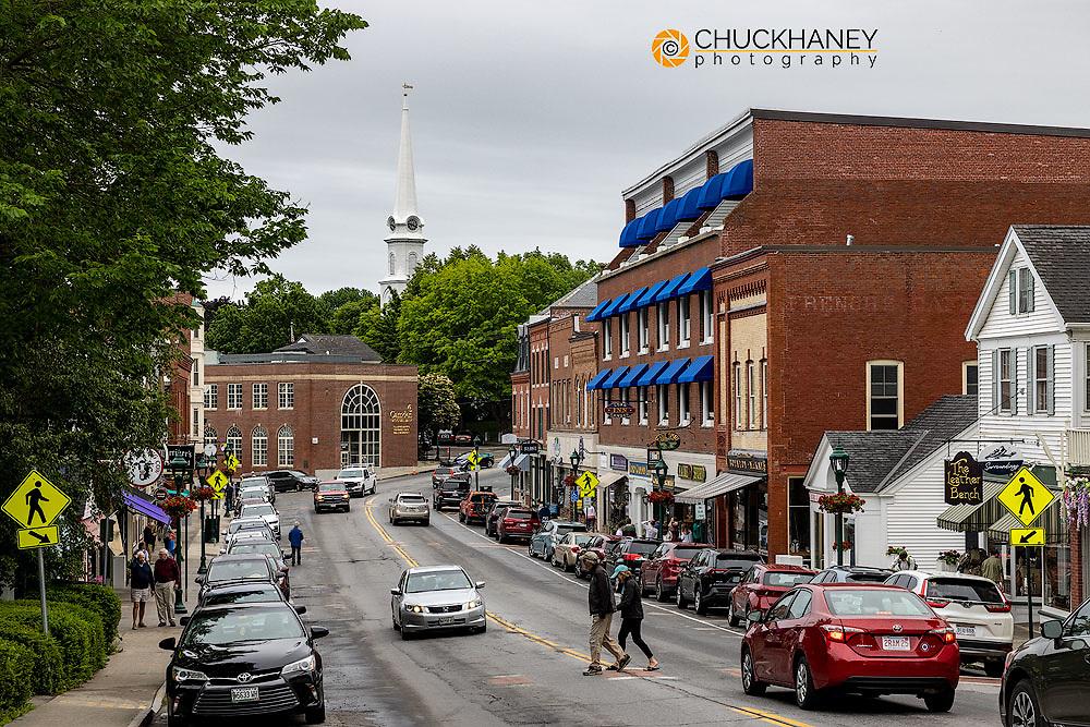 Main Street in Camden, Maine, USA