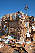 Stacks of cardboard. Recycling Center, Los Angeles, California, USA