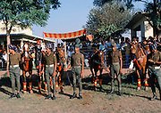 Indian army polo players with their polo ponies at Jaipur Polo Club in New Delhi, India