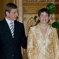 Ferenc Gyurcsany (L), Hungarian prime minister, and his wife Klara Dobrev (R) prepares to greet the Spanish king I. Juan Carlos and his wife Sofia (not pictured) Parliament, Budapest, Hungary. Wednesday, 30. May 2007. ATTILA VOLGYI