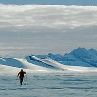 ANTARCTICA. Cross country skier below Patriot Hills, in the southern Ellsworth Mountains, at 80 degrees south latitude.  Mount Fordell background.