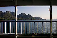 Ferry Deck on the Inland Sea -  The Inland Sea is the body of water separating Honshu Shikoku, and Kyushu, the three main islands of Japan.  Almost 3000 islands are located in the Inland Sea, including the larger islands Awajishima and Shodoshima. Today, many of the smaller islands are uninhabited.