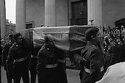 State Funeral Of Mrs Thomas Clarke..1972..08.10.1972..10.08.1972..8th October 1972..Today the state funeral of Mrs Kathleen Clarke took place at the Pro Cathedral,Dublin. Mrs Clarke was the wife of the late Thomas Clarke who was executed in Kilmainham Jail in 1916. Thomas Clarke was a signatory of the Irish Proclamation of 1916...Picture of the coffin being carried by soldiers to the waiting hearse. As the crowds look on.