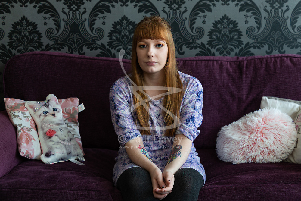 Jemma Llewellyn, 22, who has waived her right to anonymity, has been successful in the prosecution of her uncle Richard Wallace 36 after he sexually assaulted her while she was seven months pregnant, asleep on her mother's sofa. Southend-On-Sea, March 29 2019.