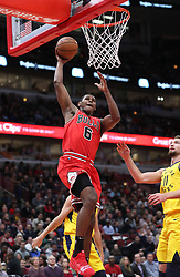 November 2, 2018 - Chicago, IL, USA - The Chicago Bulls' Cristiano Felicio (6) dunks the ball in the second quarter against the Indiana Pacers at the United Center in Chicago on Friday, Nov., 2, 2018. The Pacers won, 107-105. (Credit Image: © John J. Kim/Chicago Tribune/TNS via ZUMA Wire)