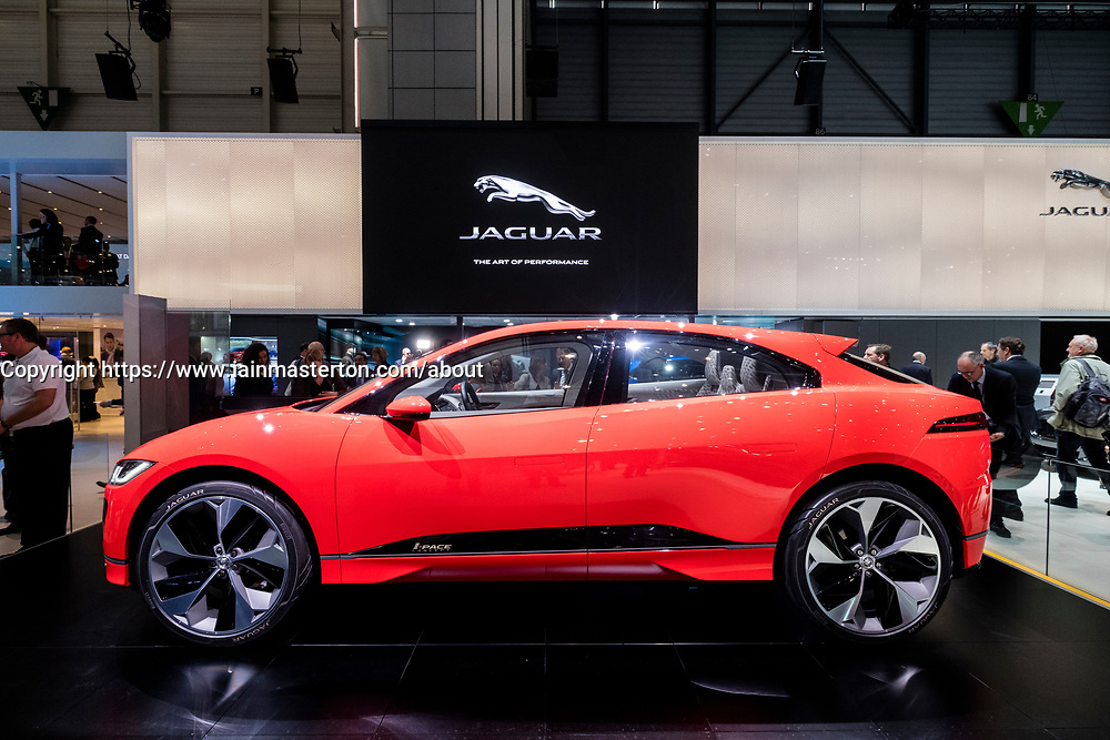 World premiere of Jaguar iPace electric SUV concept vehicle at Geneva International Motor Show 2017