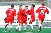 FOTBALL/1 DIVISJON/18042004/TROMSDALEN IL-SANDEFJORD/ Tom Helge Jacobsen jubler over 2-0<br /> FOTO: KAJA BAARDSEN/DIGITALSPORT