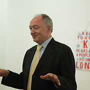 Art auction held at Gimpel Fils in support of Ken Livingstone's bid for London Mayor in May 2012.Ken Livingstone opening the auction. A very clear message from artist Bob and Roberta Smith.
