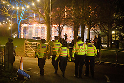 © Licensed to London News Pictures. 06/02/2019. London, UK.A large police presence at Battersea Park in London for the annual Black and White Ball, a fundraiser held by the Conservative Party. Photo credit: Ben Cawthra/LNP