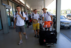 Jernej Jeras, Erik Voncina and Marko Macuh at arrival of team Slovenia at the end of European Athletics Championships Barcelona 2010 to Slovenia, on August 2, 2010 at Airport Joze Pucnik, Brnik, Slovenia. (Photo by Vid Ponikvar / Sportida)