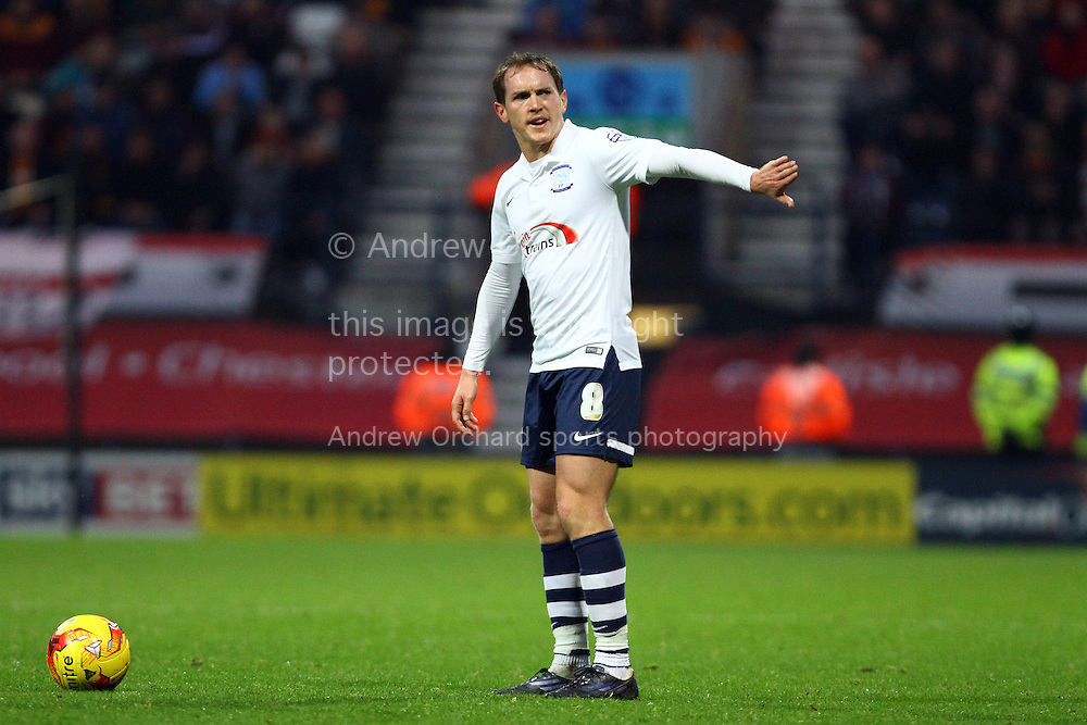 Preston North End's Neil Kilkenny gets ready to take a free kick. Skybet football league one match, Preston North End v Bradford city at Deepdale in Preston, Lancs on Saturday 15th November 2014.<br /> pic by Chris Stading, Andrew Orchard sports photography.