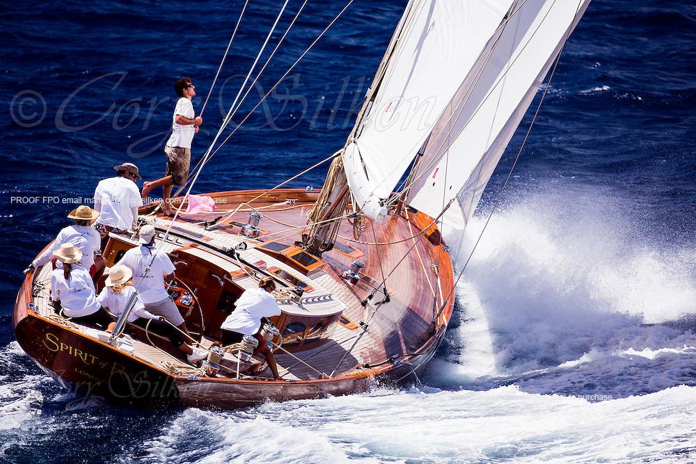 Spirit of Rani sailing in the Antigua Classic Yacht Regatta, Windward Race.