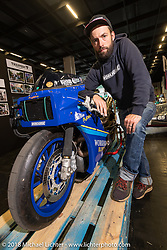 Brice Hennebert of Workhorse Speed Shop in Nodebais Belgium with his Sakura custom Yamaha XSR drag bike in the Sultans of Speed display at the Intermot International Motorcycle Fair. Cologne, Germany. Thursday October 4, 2018. Photography ©2018 Michael Lichter.