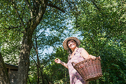 Woman with an apple and basket in garden, Altoetting, Bavaria, Germany
