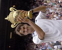 Tennis<br /> Wimbledon 2005<br /> Foto: Colorsport/Digitalsport<br /> NORWAY ONLY<br /> <br /> Roger Federer (Sui) with the trophy. Mens singles Final. Roddick v Federer. 3/7/2005. Centre Court. Wimbledon Tennis Championships 2005.