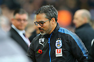 Huddersfield Town Manager David Wagner looks on prior to kick off. Premier League match, Liverpool v Huddersfield Town at the Anfield stadium in Liverpool, Merseyside on Saturday 28th October 2017.<br /> pic by Chris Stading, Andrew Orchard sports photography.
