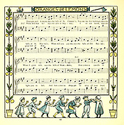 Oranges and lemons the bells of St. Clemen's From the Book '  The baby's opera : a book of old rhymes, with new dresses by Walter Crane, and Edmund Evans Publishes in London and New York by F. Warne and co. in 1900