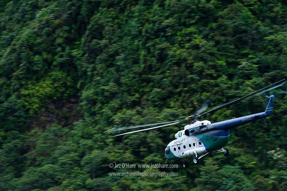 Hevilift Mil MI-8 helicopter at PT Freeport, Tembagapura, Papua, Indonesia.