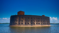 Fort Alexander is a naval fortress on an artificial island in the Gulf of Finland near Kronstadt. Composite of 3 images taken with a Fuji XT1 camera and 23 mm f/1.4 lens (ISO 200, 23 mm, f/11). Raw image processed with Capture One Pro, NIK HDR Efex Pro, Focus Magic, and Photoshop CC.