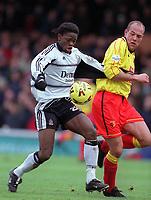 Louis Saha (Fulham) Steve Palmer (Watford) Fulham v Watford, 26/12/2000. Credit: Colorsport / Matthew Impey