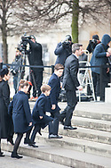 20.02.2018. Copenhagen, Denmark.  <br /> Crown Prince Frederik, Prince Christian, Prince Vincent,  Princess Isabella and Crown Princess Mary arrive to the Christiansborg Palace Church. <br /> Photo: Ricardo Ramirez.